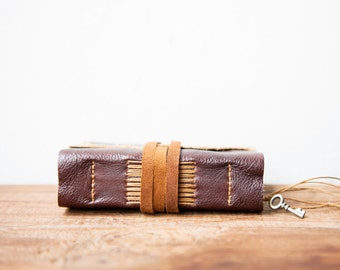 Small leather travel journal, Rustic leather jounal