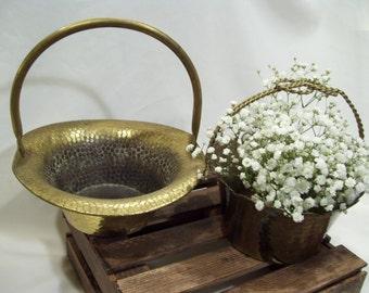 Large Brass Basket,Flower Girl Rustic Basket, Rustic Wedding,Coppercraft Guild