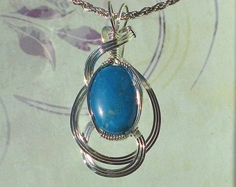Blue Howlite Pendant Necklace Wire Wrapped Jewelry Handmade in Silver With Free Shipping