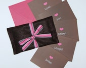Word Series Stationery Note Card Gift Set in Pink and Chocolate