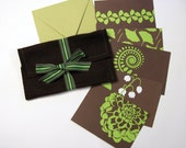 Flora Series Stationery Note Card Gift Set in Bright Green and Chocolate