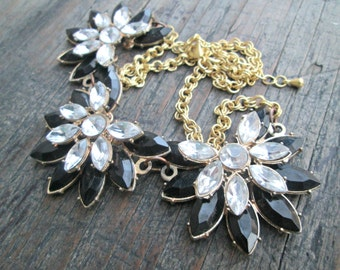 Vintage Rhinestone Necklace, Black Flower Rhinestone Necklace, Crystal Flower Necklace, Victorian Style Necklace, Prom Jewelry