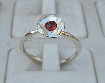 Garnet Silver Ring ,Sterling Silver 925 Engagement Ring ,Gemstones Ring ,Handmade Garnet Ring ,Friendship Silver Ring ,Birthstone Ring