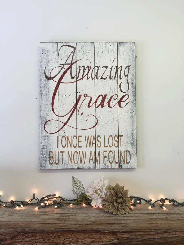 Amazing Grace Wall Decor amazing grace distressed wood sign pallet wood sign distressed