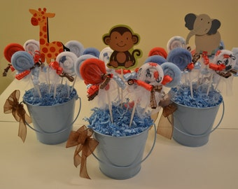 Baby Shower Centerpiece, Washcloth Lollipop Favors, Baby Boy Shower, Baby Girl Shower, Gender Neutral Baby Showers, Gender Reveal Party