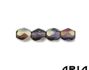 TANZANITE TWILIGHT: 4mm Faceted Round Firepolish Czech Glass Beads (50 beads per strand)