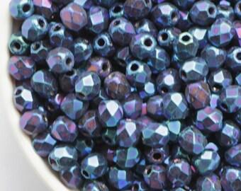 3mm Iris Blue (50pcs) Small Czech Fire Polished Glass Beads Round Polish Coated Metallic Blue