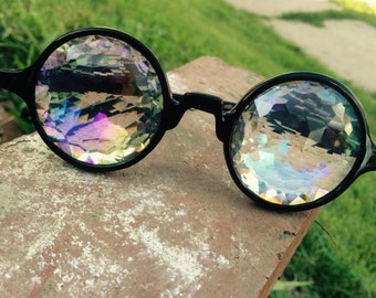 SOLD OUT _ Black Rainbow Kaleidoscope Glasses  ~ Rainbow ~ Hooper ~ DJ ~ Dance ~ Light ~ Diffracting ~ Rave