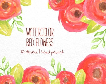 Floral Watercolor clipart, flower clipart, red clip art, flowers, digital clipart, lovely clipart, red clipart