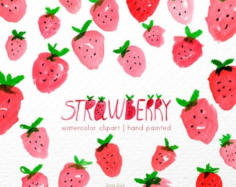 Strawberry Watercolor clipart, strawberries  clipart, pink clip art, fruits, digital clipart, lovely clipart, pink clipart, pattern clipart