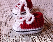 Made to Order Red Crochet baby booties crochet baby shoes baby tennis shoes