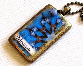 Blue Affirmation Necklace, Affirmation Jewelry, Bamboo Tile, Blue Necklace, Meditate Affirmation Pendant, Altered Art, Blue Pendant