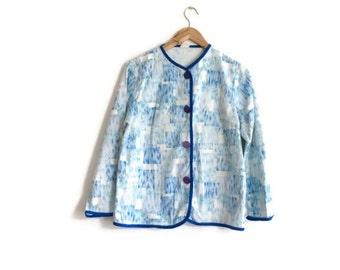 Vintage cotton jacket // 1950s patterned cotton jacket // summer blue white jacket // arty vintage jacket // 1950s vintage
