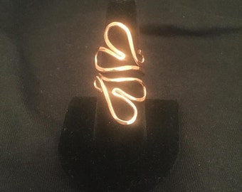 Two Hearts Copper Ring