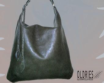 Dark green leather handmade hobo bag