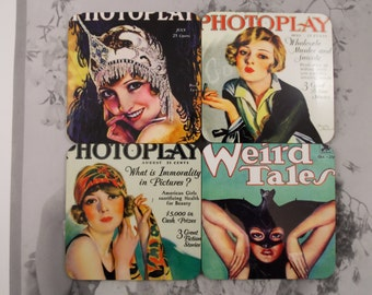 Vintage Photoplay & Weird Tales Magazine Coaster Set  Covers