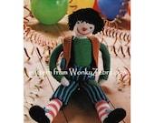 Vintage Knitted clown doll toy Pattern PDF 588 from WonkyZebra