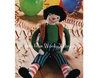 Vintage Knitted clown doll toy Pattern PDF 588 from WonkyZebra