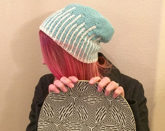 Slouchy SnowBoard Beanie, Icicles Beanie, Hand Knit Hat in Aqua and Winter White, Light Turquoise Beanie, Blue and White Ski Hat,