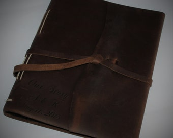 Family Leather Photo Album, Flap-tie Laser Engraved Personalized, Diary, Notebook, Personalized Engraved Diary, Genuine Leather