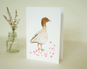 Greeting card | Australian wood duck watercolour | blank inside | anniversary | Valentines Day