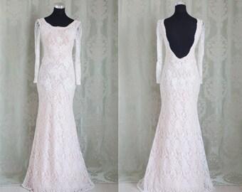 Long sleeve reception dress/ simple lace wedding drs, simple wedding dress, bohemian lace dress, bohemian wedding dress/ open back wedding