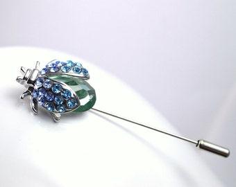 Blue rhinestone brooch brooch ladybug