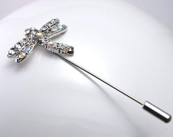Silver dragonfly brooch pin rhinestone