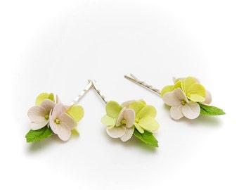 Pink hydrangea flowers Hair Pins (SET 3),  Pink Hair pins, hair accessories, hairpins for children, bobby pins