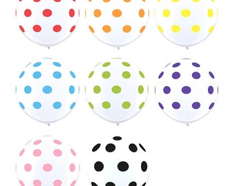 CLEARANCE - Giant 36 Inch Polka Dots on White Latex Balloons - CHOOSE Red, Orange, Yellow, Robin's Egg Blue, Lime Green, Purple, Pink, Black