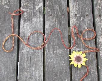 Rustic Love Wedding Cake Topper, Rustic Sunflower Cake Topper, Sunflower Wedding, Love Cake Topper, Rustic Love, Wire Love Cake Topper, Love
