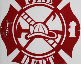 Firefighter Maltese Cross Metal Wall Art Home Decor