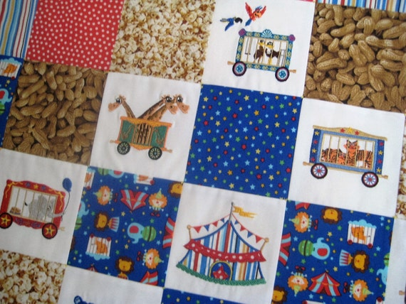 Circus Train Embroidered Baby Quilt Patchwork Minky Blanket