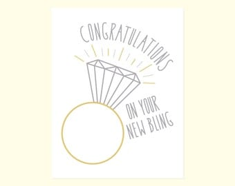 Engagement Card Humor. Funny Wedding Card. Congratulations...On Your New Bling.