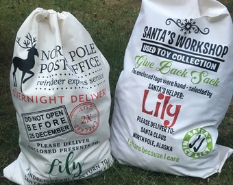 Personalized Santa Sacks, Made in America,  Christmas in July Sale, Christmas Gift, Santa Bag, Gifts for Kids, Gift Bag, First Christmas
