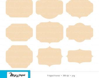 Digital Tan Beige Sand Frames Printable Instant Digital Download PNG