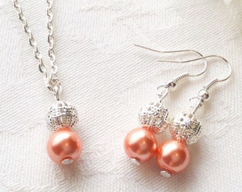 Coral Jewelry Set Coral Pearl Jewelry Coral Bridesmaid Necklace Wedding Bridesmaid Gift