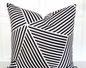 Black and White  Pillow Cover - Designer Pillow - Nate Berkus - Decorative Pillow - 18x18, 20x20, 22x22, Lumbar - Toss Pillow - Black Stripe