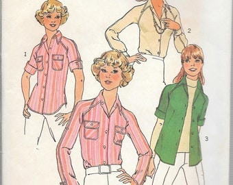 Vintage 1975 Simplicity Pattern 7057 RAGLAN SLEEVE SHIRTS Miss Sizes 12-14
