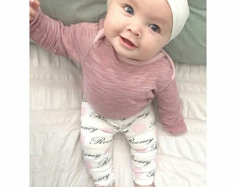 Customized baby name leggings: baby and toddler personalized name leggings organic cotton knit baby shower gift
