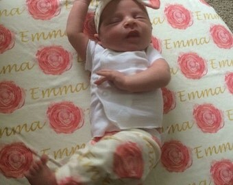 Personalized rose baby name leggings, blanket, and bow headband: newborn gift set baby customized name leggings baby gift