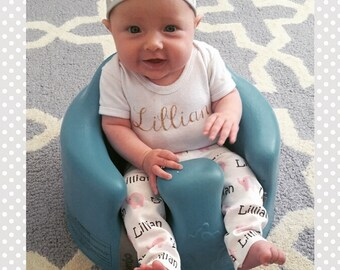 Personalized baby elephant name leggings and name headband: newborn gift set baby and toddler customized name leggings baby gift