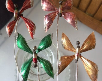 One vintage mercury glass and foil/metal butterfly pick