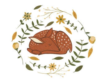 Sleeping Fawn Illustration Print, deer art, doe, cute deer art, cute deer painting, deer print, fawn art, folk art