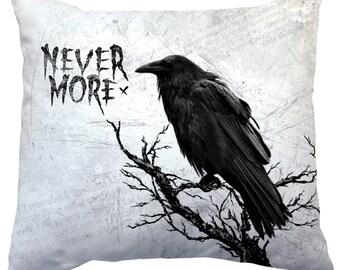 Edgar Allen Poe Nevermore Raven Decorative Pillow - Halloween Decor Throw Pillow -  Great for Halloween decorating!