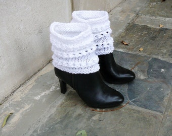 Hand Knitted Leg Warmers. Cable Knit Boot. Woman leg Warmers
