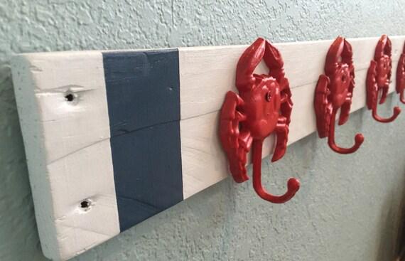 Coastal Towel Racks For Bathroom: Nautical Towel Rack Bathroom Beach Towels Crab Hooks