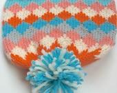 CLEMENTINE: Handknit hat, diamonds, peach, orange, turquoise, white, gray, pompom, large child/teen/adult size