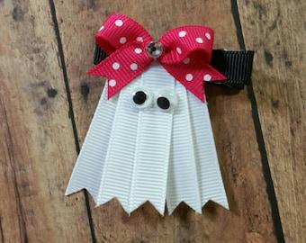 Halloween Hair Bow - Ribbon Ghost Hair Bow / Hair Clip Accessory