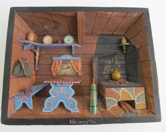 Diorama, Shadow Box, Folk Art, Folk Art Diorama, Cabin, Cabin Decor, Cottage, Cottage Decor, Camper Decor, Rustic, Art, Folk Art Shadow Box
